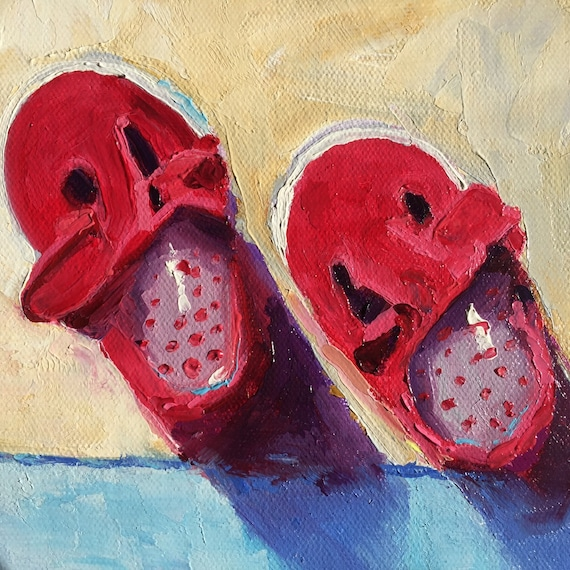 Baby Shoes, Small Oil Painting, Small Nursery Painting, red shoes, baby shoes