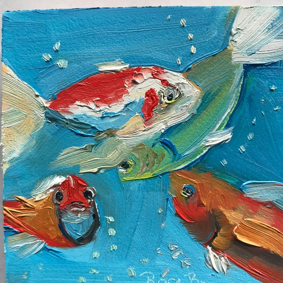 Fish painting, Miniatures, Monet Lily Pond, Small Art, Tiny painting