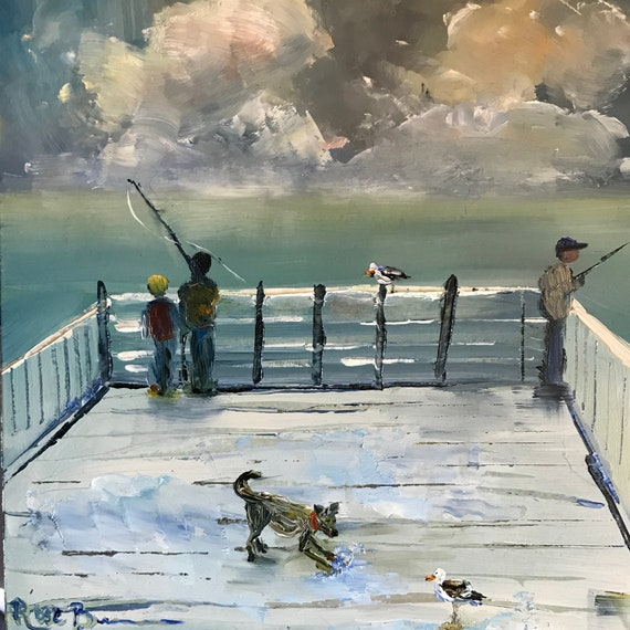 Fishing painting, Miniatures, Boy painting, Small Art, Tiny painting