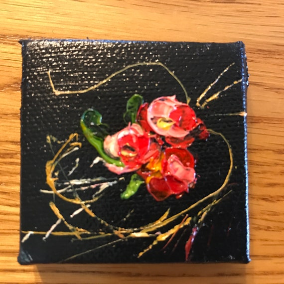 Rose Painting, Miniatures, Red Flowers with Easel, Abstract, Landscape Painting,
