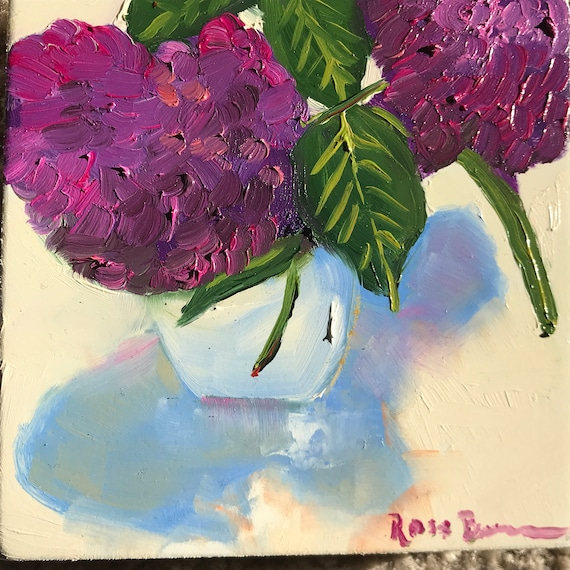 Purple flower, Flower painting, purple hydrangeas, Miniature, Spring,  Small Art, Tiny painting