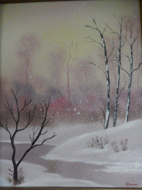 Peach Winter Painting, Snow Painting, Large Painting, Pastel Color Painting, Gifts for Her