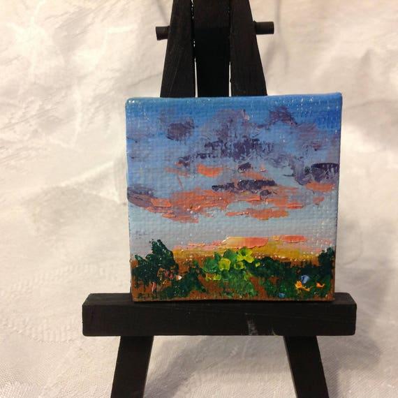 Miniatures, Dawn Landscape, Rising Sun painting, Tiny art, Mini landscape