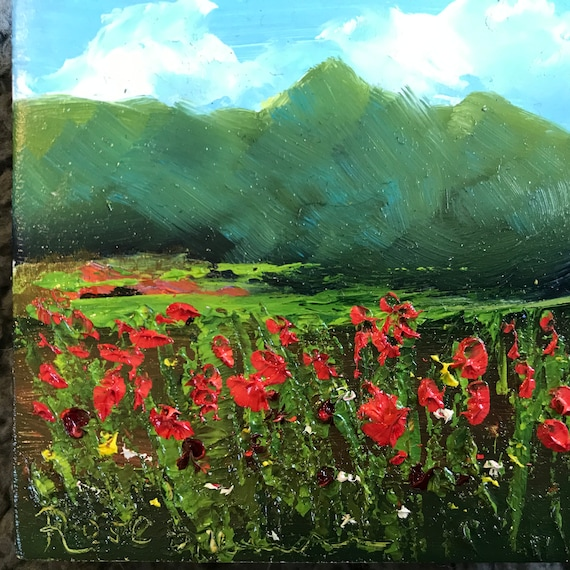 Poppies, Flower painting, Miniature, Spring,  Monet Style Art, Small Art, Tiny painting