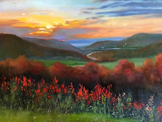 NY fall painting, XLPainting, fall landscape  Scene, Painting, Sunset landscape Painting