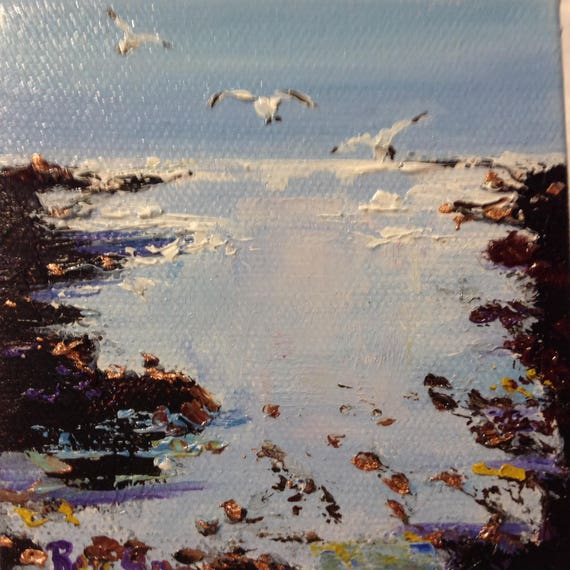 Miniatures, Tide Pool Coastal Beach Painting with Easel, Beach Art, Ocean Art, Small Art
