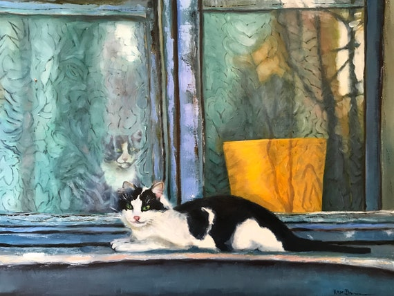 Cat Painting, XL Painting, window painting, large canvas painting