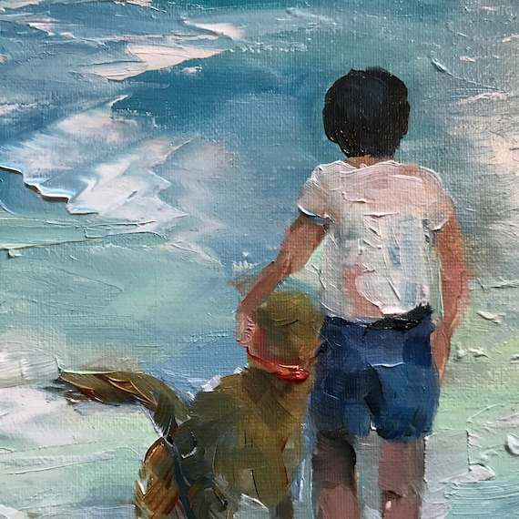 Dog painting, child Painting, Small Oil Painting, dog and child, beach painting, ocean painting