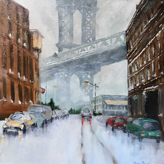 New York Painting, Brooklyn Bridge, City Oil Painting, NYC Landscape