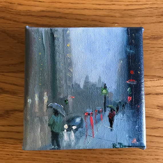 Rainy City, Miniatures, Rain Art,  Water Art,  Small Art, Tiny painting