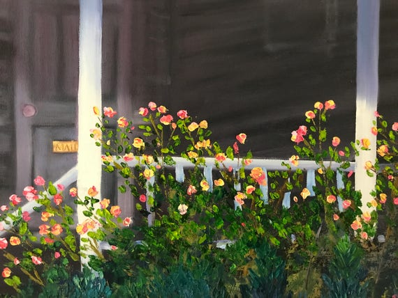 Rose Painting, Large Oil Painting, Landscape, Cityscape Painting, The Front Porch