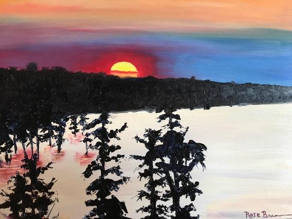 Orange painting, landscape painting, oil painting, waterscape,