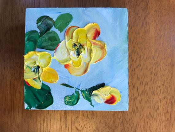 Miniature, Yellow Flowers, Small Art, Tiny painting