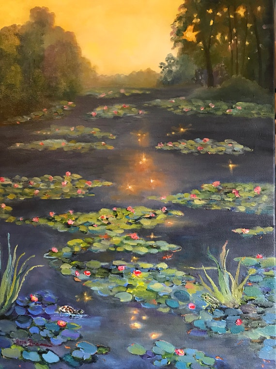Water Painting, Lily Pond painting, golden, orange, Monet style painting, water lilies, XL painting