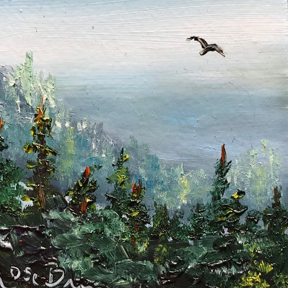 Mountain painting, Miniatures, Northwest scene,  Small Art, Tiny painting