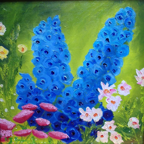 Blue Flowers, Wall Art Canvas, Canvas Painting, Oil Painting, Landscape, Monet's Garden, English Garden