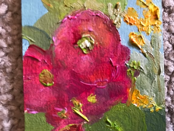 Red flowers, small Painting, Mini Painting with Easel, Tiny Art, Landscape Painting, Miniatures, hollyhocks