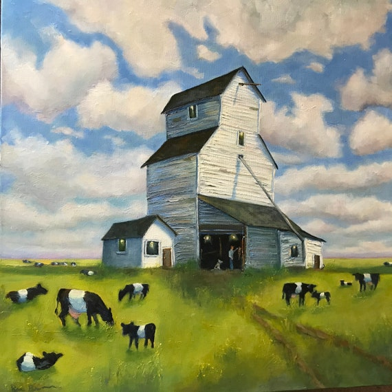 Barn painting, Cow painting, Extra Large Painting, Farm, Oreo cows, big sky, feed barn