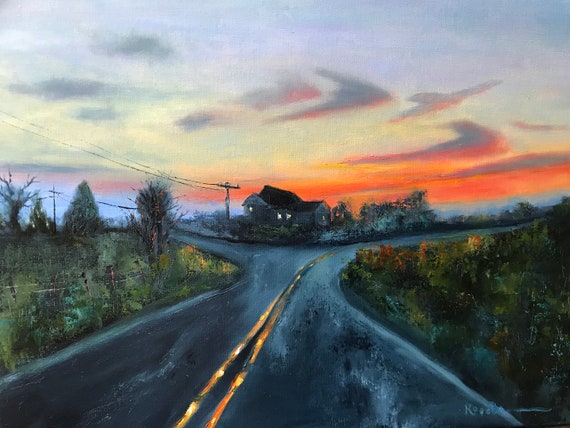 Sunset painting, choices, rural scene, road, street scene nocturne,