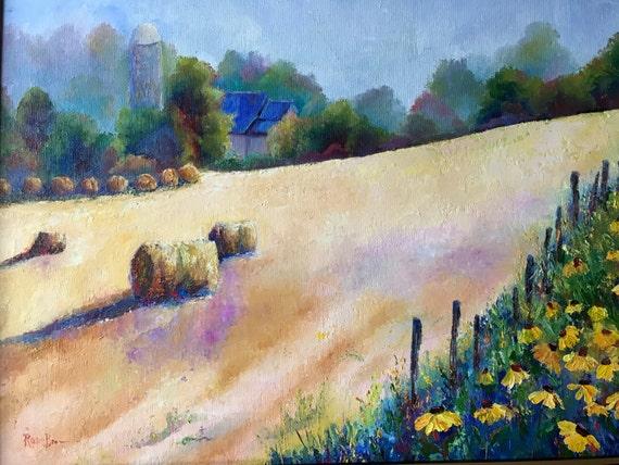 Rural Landscape, Summer Harvest,  field Hay Bales, Summer Landscape, Indiana Landscape