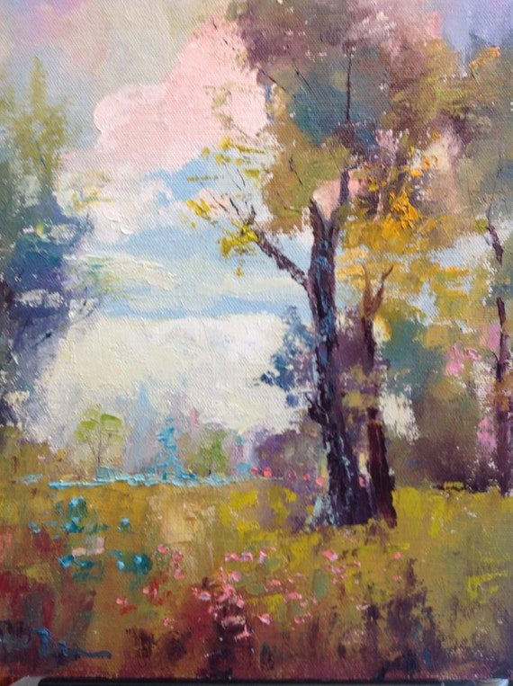 The Big Oak Tree Painting, Landscape Painting, Rustic Country Painting