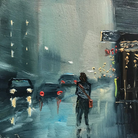 Rainy Day, City scene, Miniature, Small Art, Tiny painting