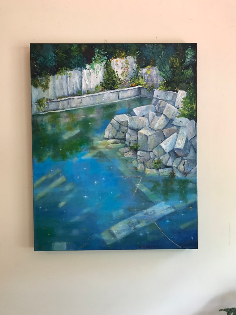 Quarry Painting, XLPainting, Indiana limestone quarry, quarry swimming,  Landscape Painting, Bloomington Indiana quarry, Breaking Away