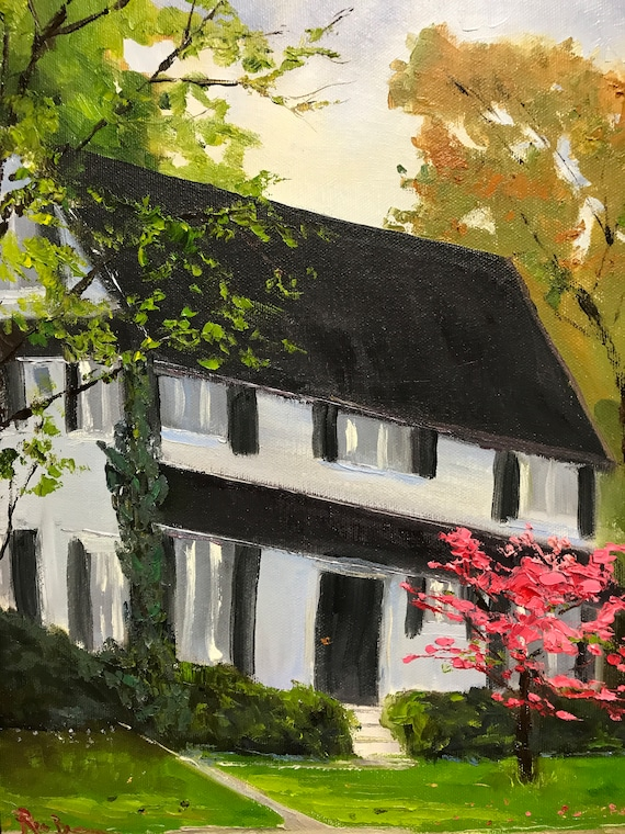 Spring Painting, Landscape painting, cityscape,  house painting