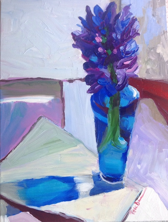Small Painting, Landscape Painting, Flower Painting, Hyacinth, Still Life
