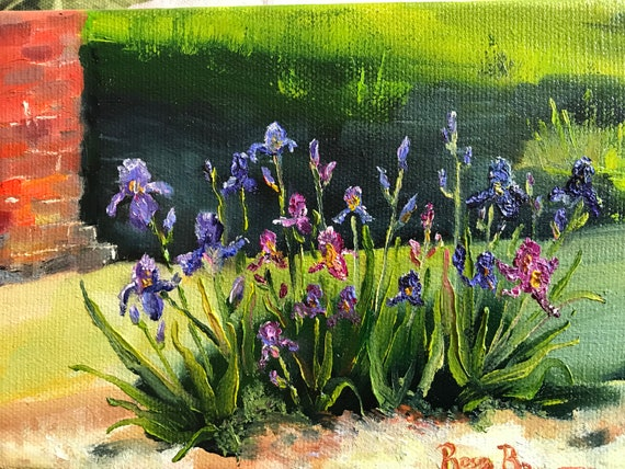 Iris flowers, tiny canvas art, Original painting, small flower painting