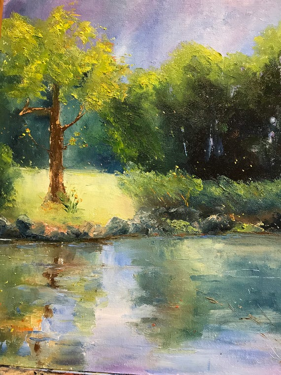 river painting, Plein Air Art Painting,  Farm painting, Rustic, Midwestern Scene