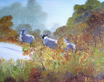 Sheep Painting, Early Snow, Landscape Painting, Birthday Present, Small Art