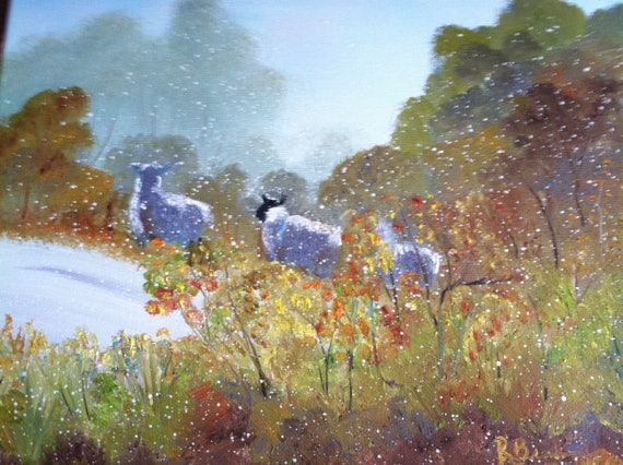 Sheep Painting, Snow, Landscape Painting, Birthday Present, Small Art