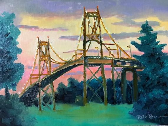 Thousand Islands Bridge, Plein air, NY bridge, TI painting, Thousand Islands, canvas painting, painted on site, bridge painting