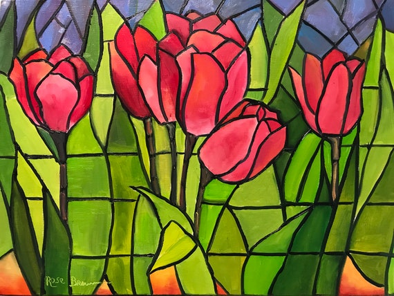 Tulip Painting, Stained Glass Art, Red Tulips, Flower Painting,