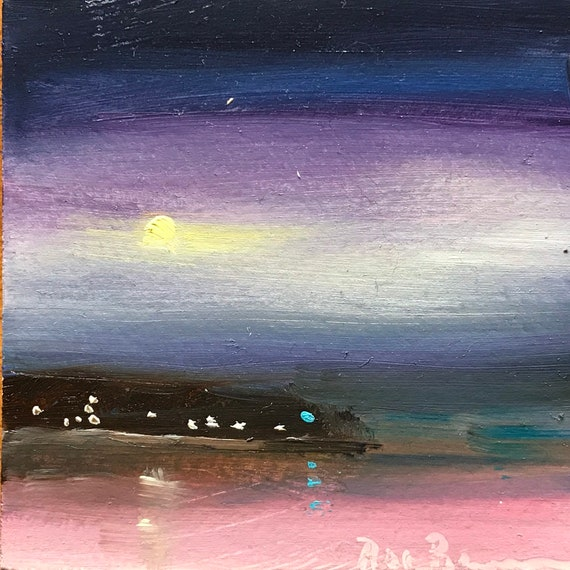 Lake Art, moonlight painting, Miniatures, Small Art, Tiny painting