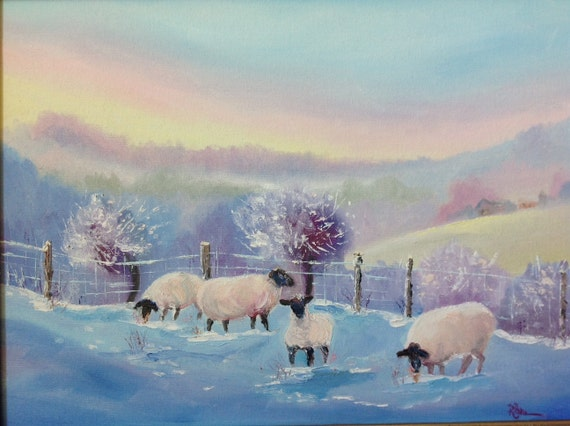 Sheep, Snow Scene, Lambs and Sheep, Pastoral Landscape, Landscape painting, Animal painting