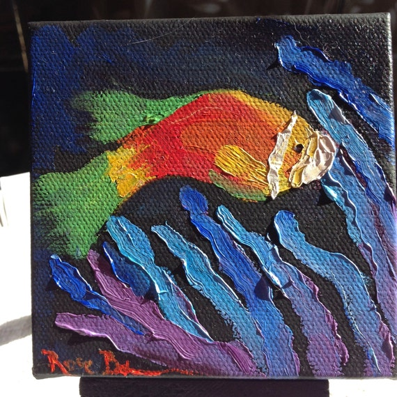 Clown Fish, Nemo Painting with Easel, Child Nursery Art, Landscape Painting, Miniatures