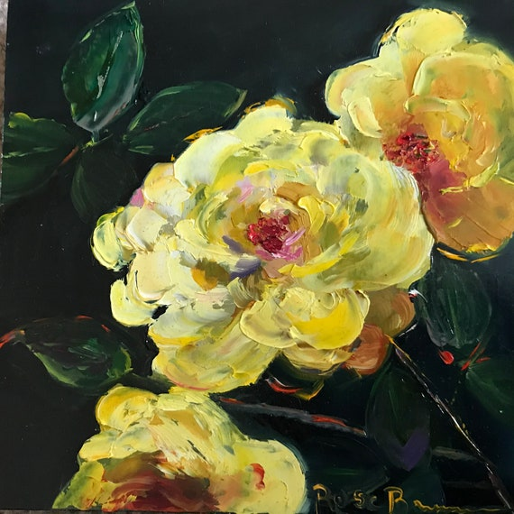 roses, yellow roses, rose painting, summer flowers