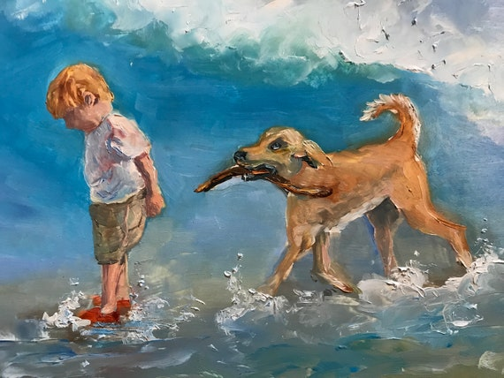 Boy painting, dog painting, beach painting, boy and dog, nursery painting