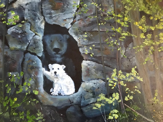 Bear painting, baby bear painting, nursery painting, Landscape Painting, Nocturne painting