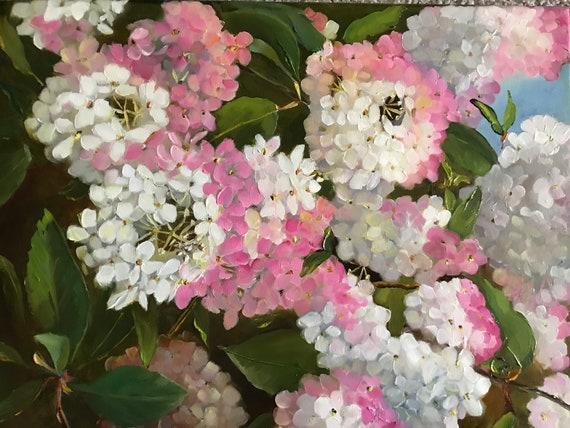 Flower Painting, Still Life, pink flowers, Bedroom Decor, Living Room Art, hydrangeas