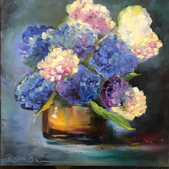 Flower painting, Blue Flowers, Still Life Painting, Cobalt Deep Blue, hydrangeas