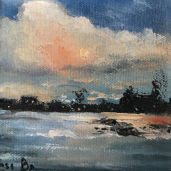 Water Painting, cloud art, Summer Art, Lake Art, Landscape Painting, Miniatures