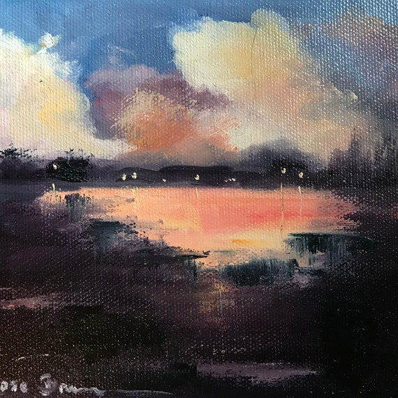Moonlight Painting, Lakeshore Art, Lake Art, Landscape Painting, Miniatures