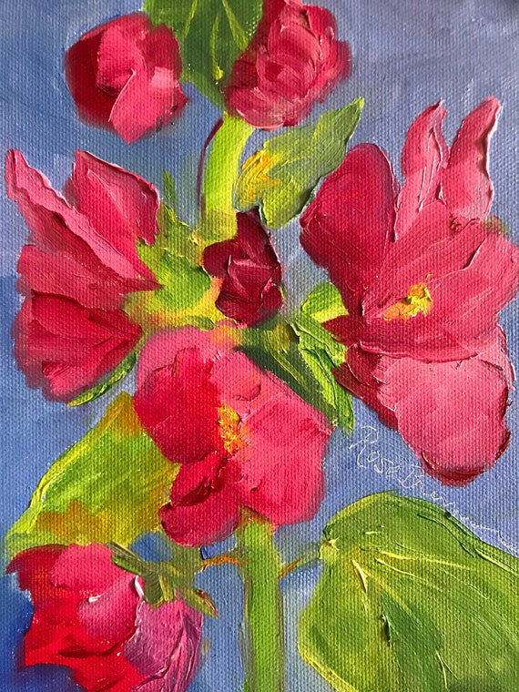 Pink flowers, small painting, secret Santa gift, office gift, hollyhocks