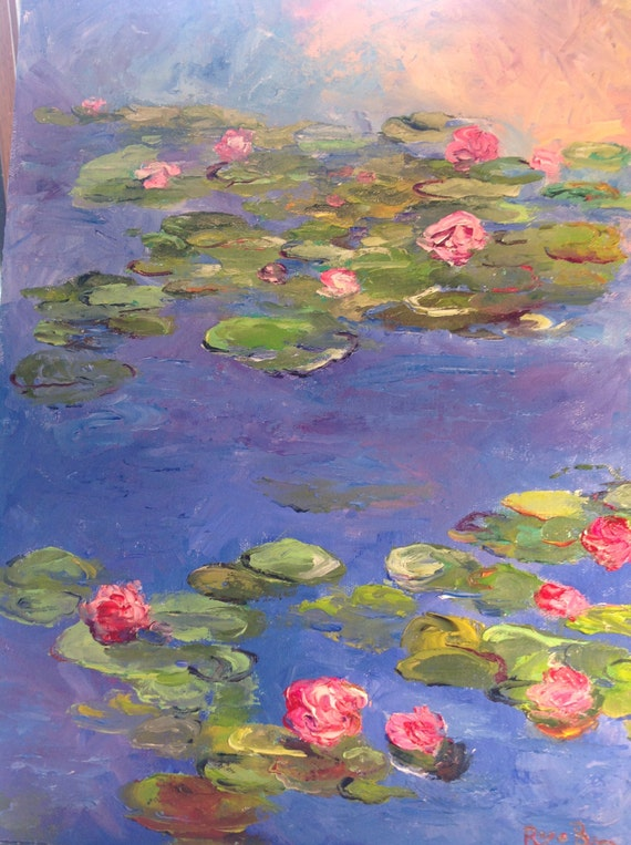 Monet Style Painting, Large Painting, Lily Pond, Impressionist, Lily Pad, Flower Art, Summer art