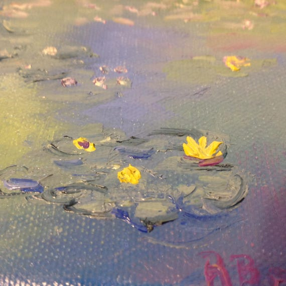 Miniatures, Monet Painting, Lily Pond Art,  Water Art,  Small Art, Tiny painting