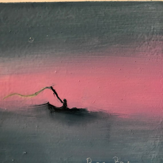Fishing painting, Miniature, Small Art, Tiny painting