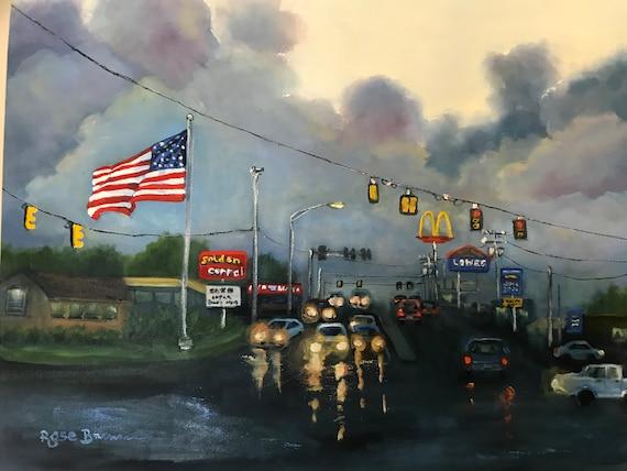 Cityscape painting, city scene, street scene, stormy sky, car painting, Auto Zone, Enterprise, street art